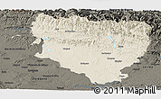 Shaded Relief Panoramic Map of Huesca, darken