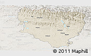 Shaded Relief Panoramic Map of Huesca, lighten