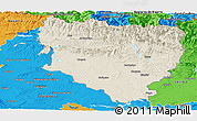 Shaded Relief Panoramic Map of Huesca, political outside