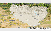 Shaded Relief Panoramic Map of Huesca, satellite outside