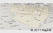 Shaded Relief Panoramic Map of Huesca, semi-desaturated