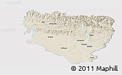 Shaded Relief Panoramic Map of Huesca, single color outside