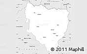 Silver Style Simple Map of Huesca