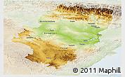 Physical Panoramic Map of Aragón, lighten