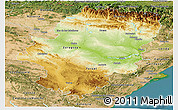 Physical Panoramic Map of Aragón, satellite outside