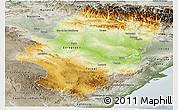Physical Panoramic Map of Aragón, semi-desaturated