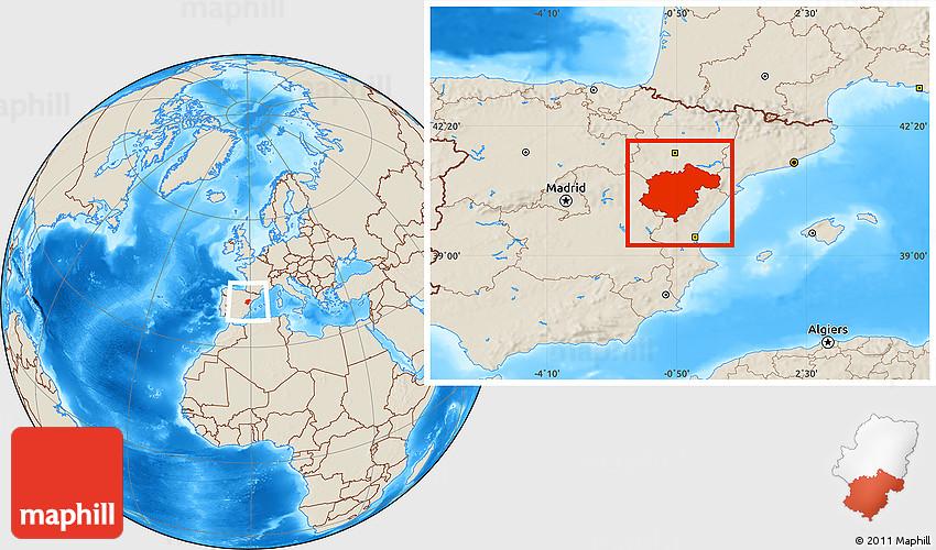 Teruel Spain Map.Shaded Relief Location Map Of Teruel