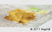 Physical Panoramic Map of Teruel, lighten, semi-desaturated
