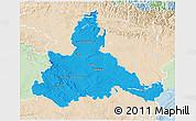 Political 3D Map of Zaragoza, lighten