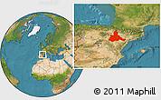 Satellite Location Map of Zaragoza