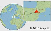 Savanna Style Location Map of Zaragoza