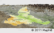 Physical Panoramic Map of Zaragoza, darken, semi-desaturated