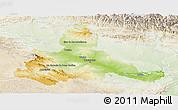 Physical Panoramic Map of Zaragoza, lighten