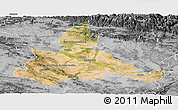 Satellite Panoramic Map of Zaragoza, desaturated