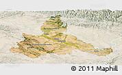 Satellite Panoramic Map of Zaragoza, lighten