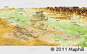 Satellite Panoramic Map of Zaragoza, physical outside