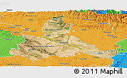 Satellite Panoramic Map of Zaragoza, political outside