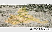 Satellite Panoramic Map of Zaragoza, semi-desaturated