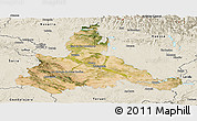 Satellite Panoramic Map of Zaragoza, shaded relief outside
