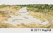Shaded Relief Panoramic Map of Zaragoza, satellite outside