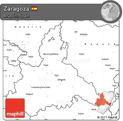 Free Blank Simple Map of Zaragoza on