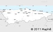 Silver Style Simple Map of Asturias