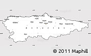 Silver Style Simple Map of Asturias, cropped outside