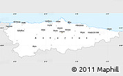 Silver Style Simple Map of Asturias, single color outside