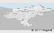 Gray 3D Map of Cantabria, single color outside