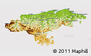 Physical 3D Map of Cantabria, cropped outside