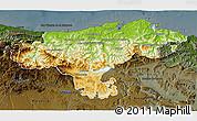 Physical 3D Map of Cantabria, darken