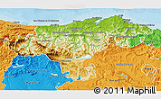 Physical 3D Map of Cantabria, political outside