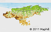 Physical 3D Map of Cantabria, single color outside