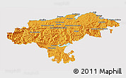 Political 3D Map of Cantabria, cropped outside