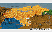 Political 3D Map of Cantabria, darken