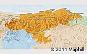 Political 3D Map of Cantabria, lighten