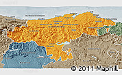 Political 3D Map of Cantabria, semi-desaturated