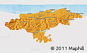 Political 3D Map of Cantabria, single color outside