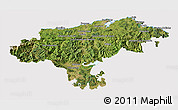 Satellite 3D Map of Cantabria, cropped outside
