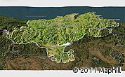 Satellite 3D Map of Cantabria, darken