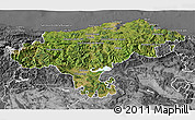 Satellite 3D Map of Cantabria, desaturated