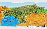 Satellite 3D Map of Cantabria, political outside