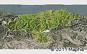 Satellite 3D Map of Cantabria, semi-desaturated
