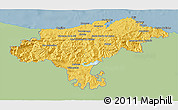 Savanna Style 3D Map of Cantabria, single color outside