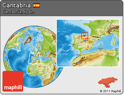 Physical Location Map of Cantabria, highlighted parent region, within the entire country