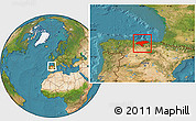Satellite Location Map of Cantabria
