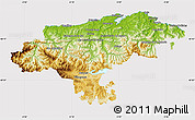Physical Map of Cantabria, cropped outside