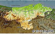 Physical Map of Cantabria, darken