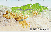 Physical Map of Cantabria, lighten
