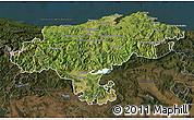 Satellite Map of Cantabria, darken